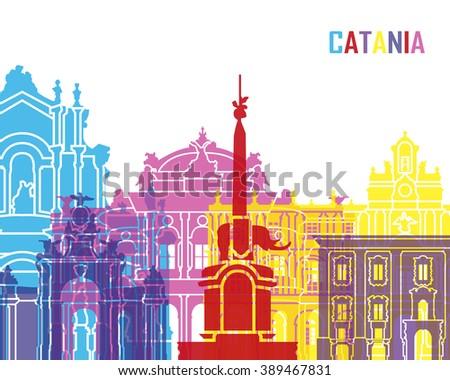 Catania skyline pop in editable vector file - stock vector