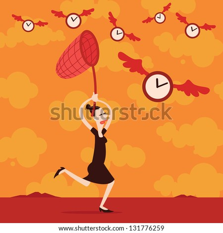 Catching time - stock vector