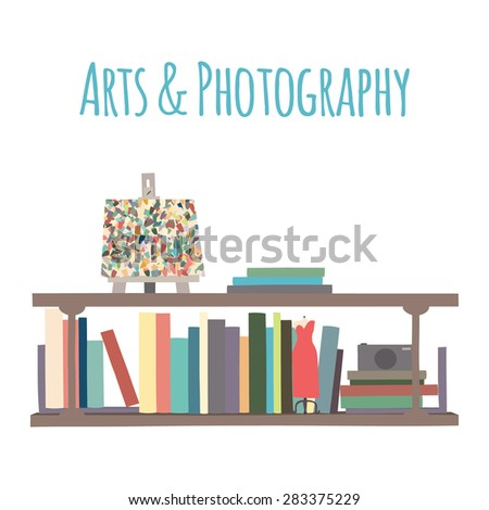 """Category for a bookstore or library. Bookshelves  """"Arts & Photography"""".  - stock vector"""
