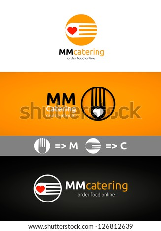 Catering & Cooking logo template and its variants in black and orange variant - stock vector