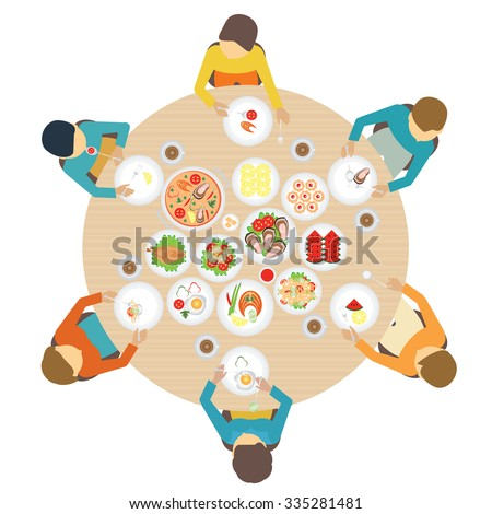 Dining Table Top View family sitting dining table top view stock vector 326637689