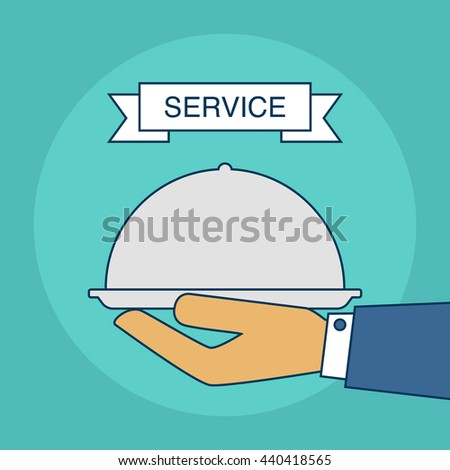 Catering service. Outdoor events and restaurant service. Vector illustration - stock vector