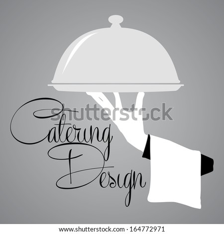 Catering Waiter Design silhouette in vector format - stock vector