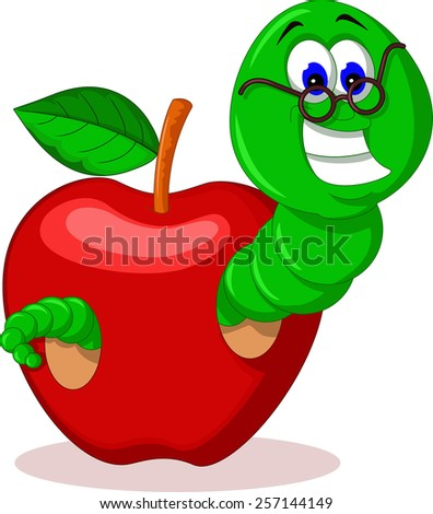 caterpillar and apple  - stock vector