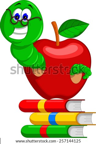 caterpillar,books and apple  - stock vector