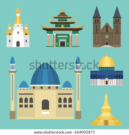 Asia landmarks architecture building icons set stock for Asia famous buildings
