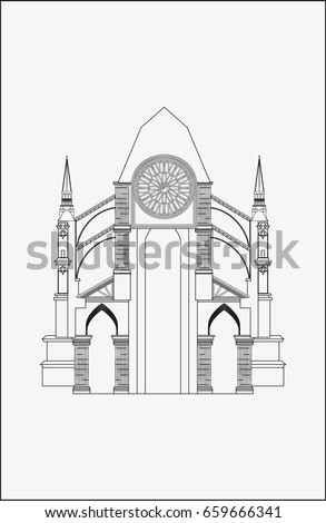 Gothic Architecture Vector Drawn Illustration