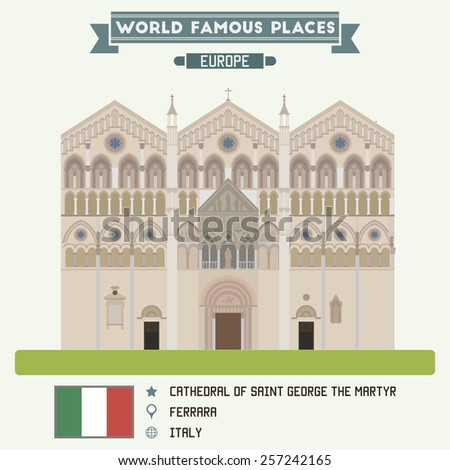 Cathedral of Saint George the Martyr. Ferrara, Italy - stock vector