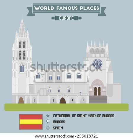Cathedral of Saint Mary of Burgos. Spain - stock vector