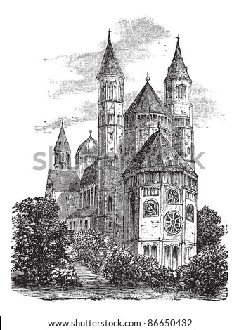 Cathedral of St Peter or Worms Cathedral in Worms, Germany, during the 1890s, vintage engraving. Old engraved illustration of Cathedral of St Peter. Trousset encyclopedia (1886 - 1891). - stock vector