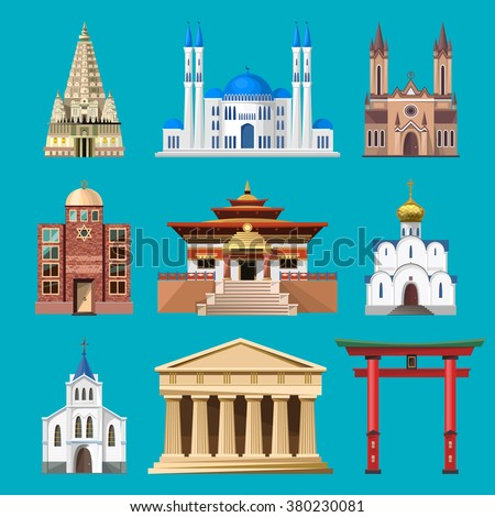 Cathedrals, churches and mosques vector building set. Collection of temple buildings and architecture. Places of interest of different countries. Islam, buddhist, hindu and christian religion.