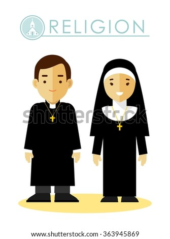 Catholic christian priest and nun in uniform in flat style isolated on white background - stock vector