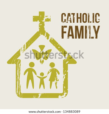 catholic family over beige background. vector illustration - stock vector