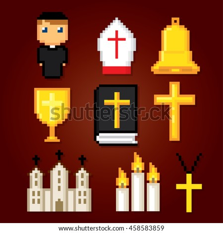Catholic icons set. Pixel art. Old school computer graphic style. Games elements. - stock vector