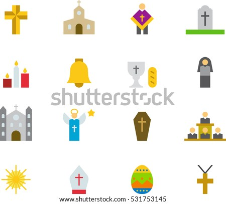 CATHOLIC RELIGION color flat icons