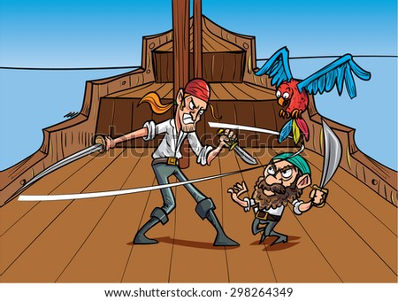 Catoon priates dueling on a pirate shirt - stock vector