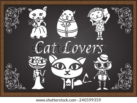 Cats and cat lovers letter on chalkboard