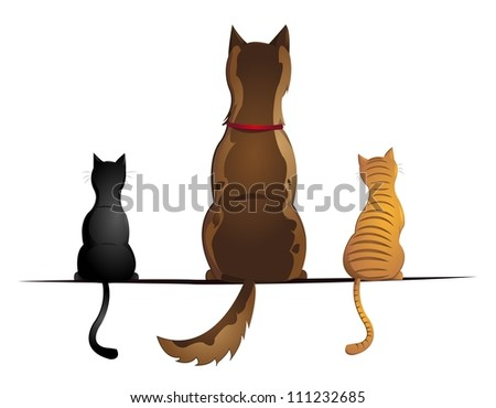 cats and dog - stock vector