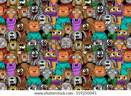 cats and dogs cartoon seamless pattern - positive comic pets. Vector illustration. - stock vector
