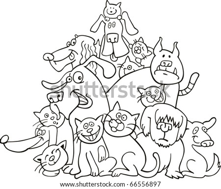 cats and dogs illustration for coloring book - stock vector