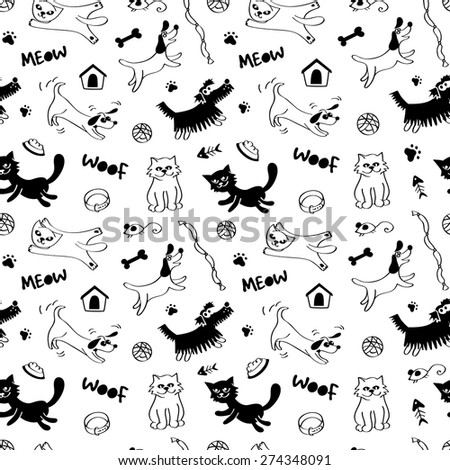 Cats and dogs seamless pattern in black and white colors. Vector - stock vector