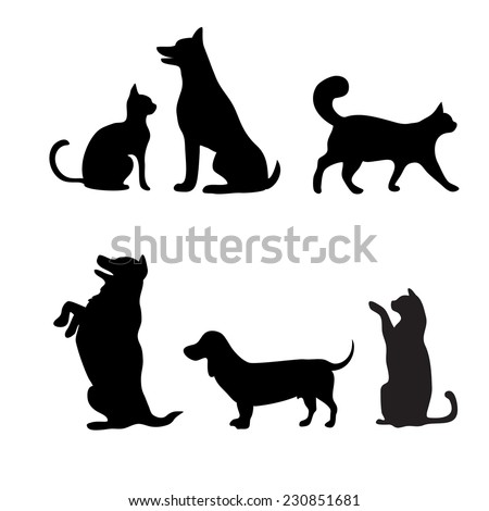 Cats and dogs set, vector silhouette - stock vector