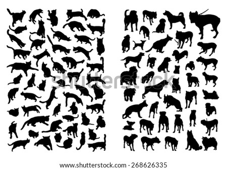 Cats and Dogs Silhouettes Set - stock vector
