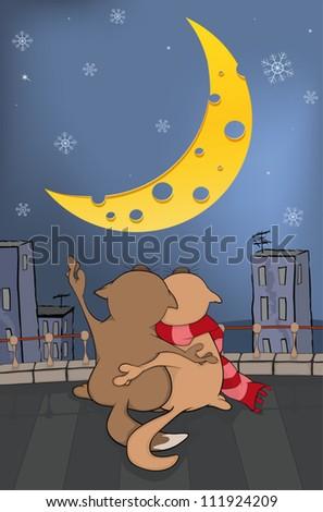 Cats and the moon. Cartoon - stock vector