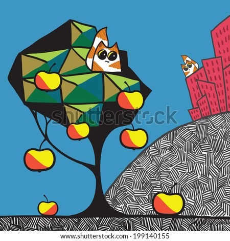 Cats, apple tree and town. Cartoon vector illustration. - stock vector