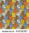 Cats color fun seamless pattern The seamless pattern with group of funny happy cats. Colored vector illustration animals - stock vector