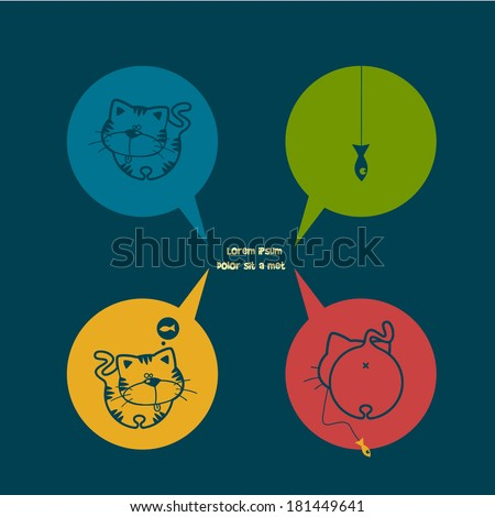 Cats dream about fish cartoon characters - stock vector