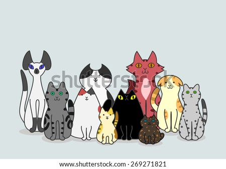 Cats group - stock vector