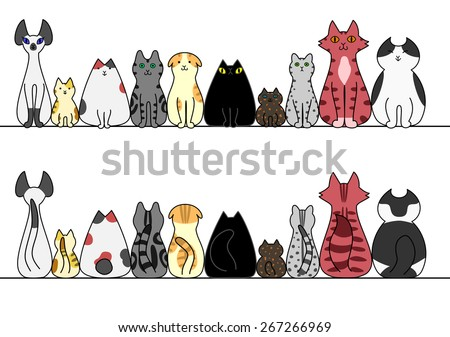Cats in a row with copy space,front and back - stock vector
