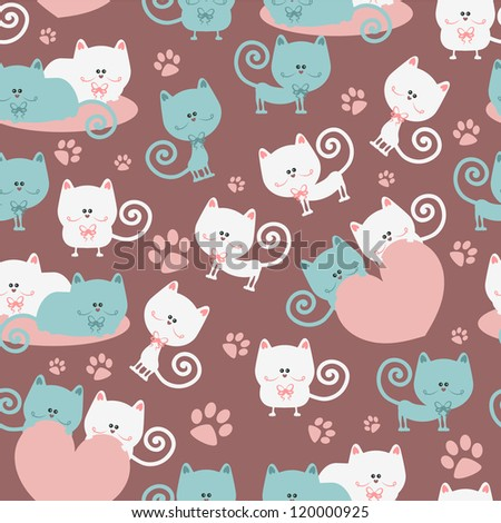 Cats in love cute seamless pattern - stock vector