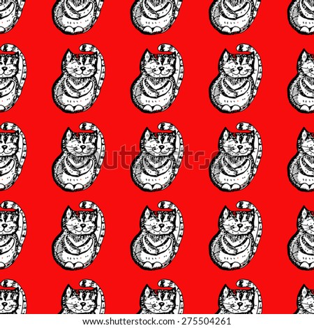 Cats on a red background. Seamless.