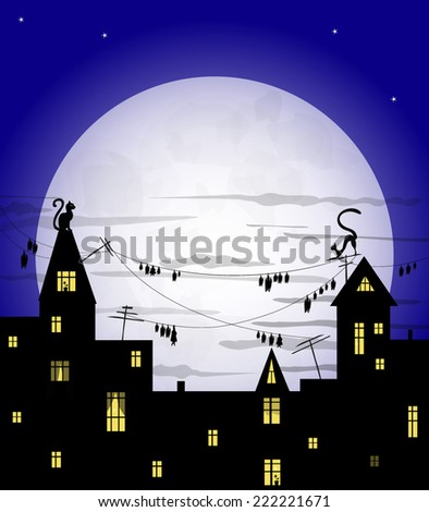 cats on house roof, bats on wires, light in windows of houses, big moon on dark blue sky