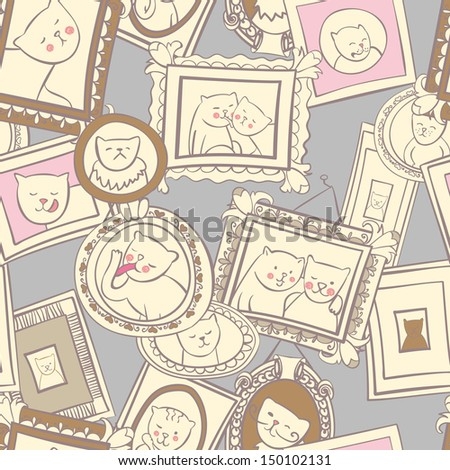 Cats portraits in frames seamless vector pattern - stock vector