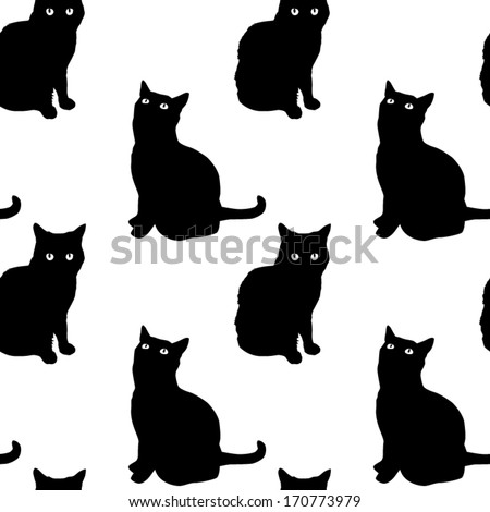 Cats Seamless Pattern - stock vector