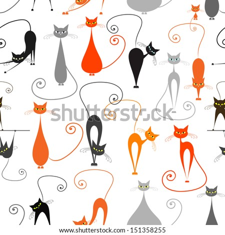 Cats, seamless pattern for your design - stock vector