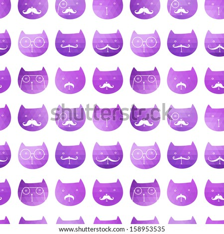 cats seamless pattern. Vector. Vector triangle cats. Abstract cat of geometric shapes. Sign of the cat. Illustration with cat. Holiday design. Backdrop. Gradient.  - stock vector
