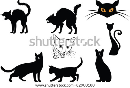 cats silhouettes - stock vector