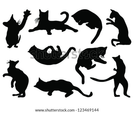 cats silhouettes different poses vector stock vector