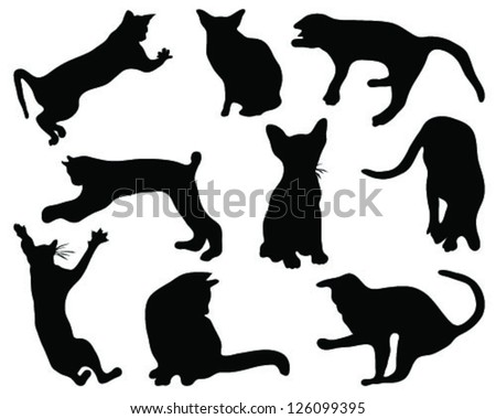 Cats silhouettes, vector - stock vector