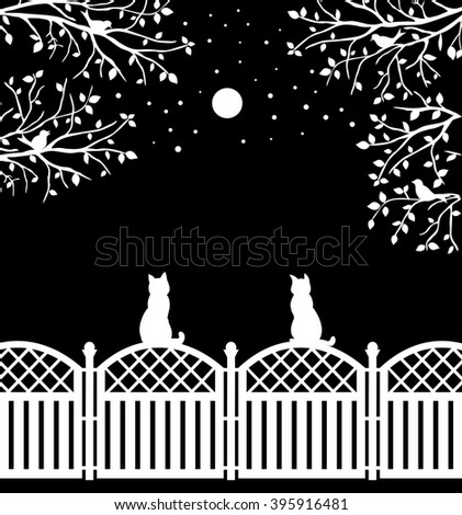 Cats sitting on rustic fence watching moon, stars and birds, flat vector design - stock vector