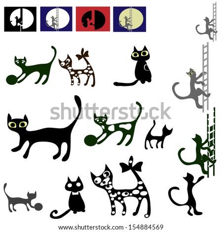 Cats vector silhouette set. - stock vector