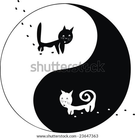 cats. Ying and Yang. - stock vector