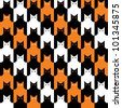 CatsTooth Halloween Pattern repeats seamlessly. Cats' eyes are on separate layer. Pattern is in Swatches Palette. - stock vector