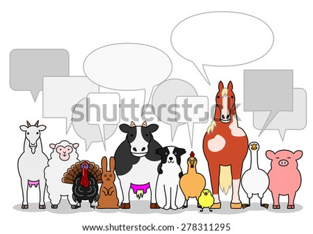 cattle animals group with speech bubbles