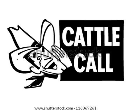 Cattle Call - Retro Clipart Illustration - stock vector