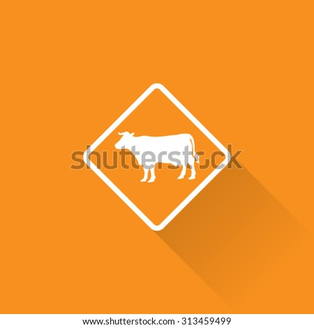Cattle Crossing Sign - stock vector